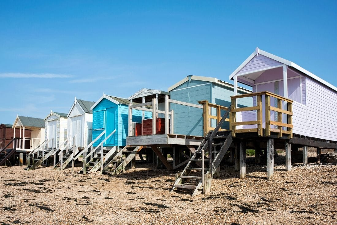 Colourful beach huts in Southend, Essex