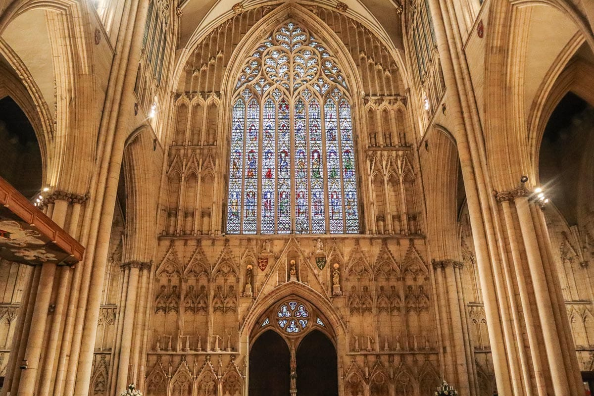 Beautiful stained glass windows inside York Minster