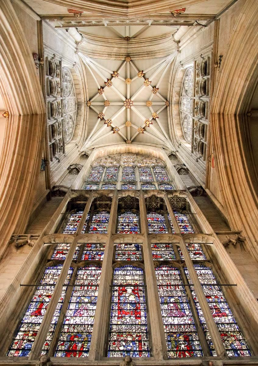 Intricate windows and ceiling at York Minster