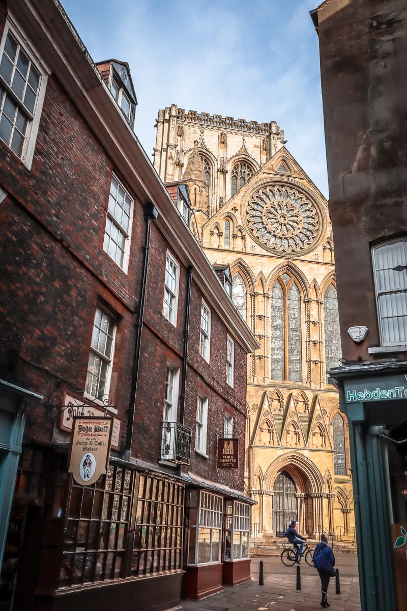 View of York Minster through the streets