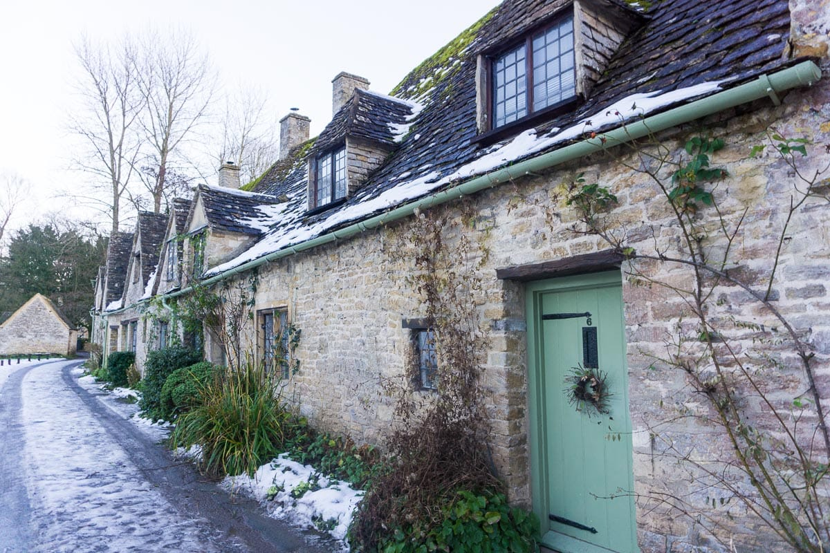Bibury in The Cotswolds in the snow