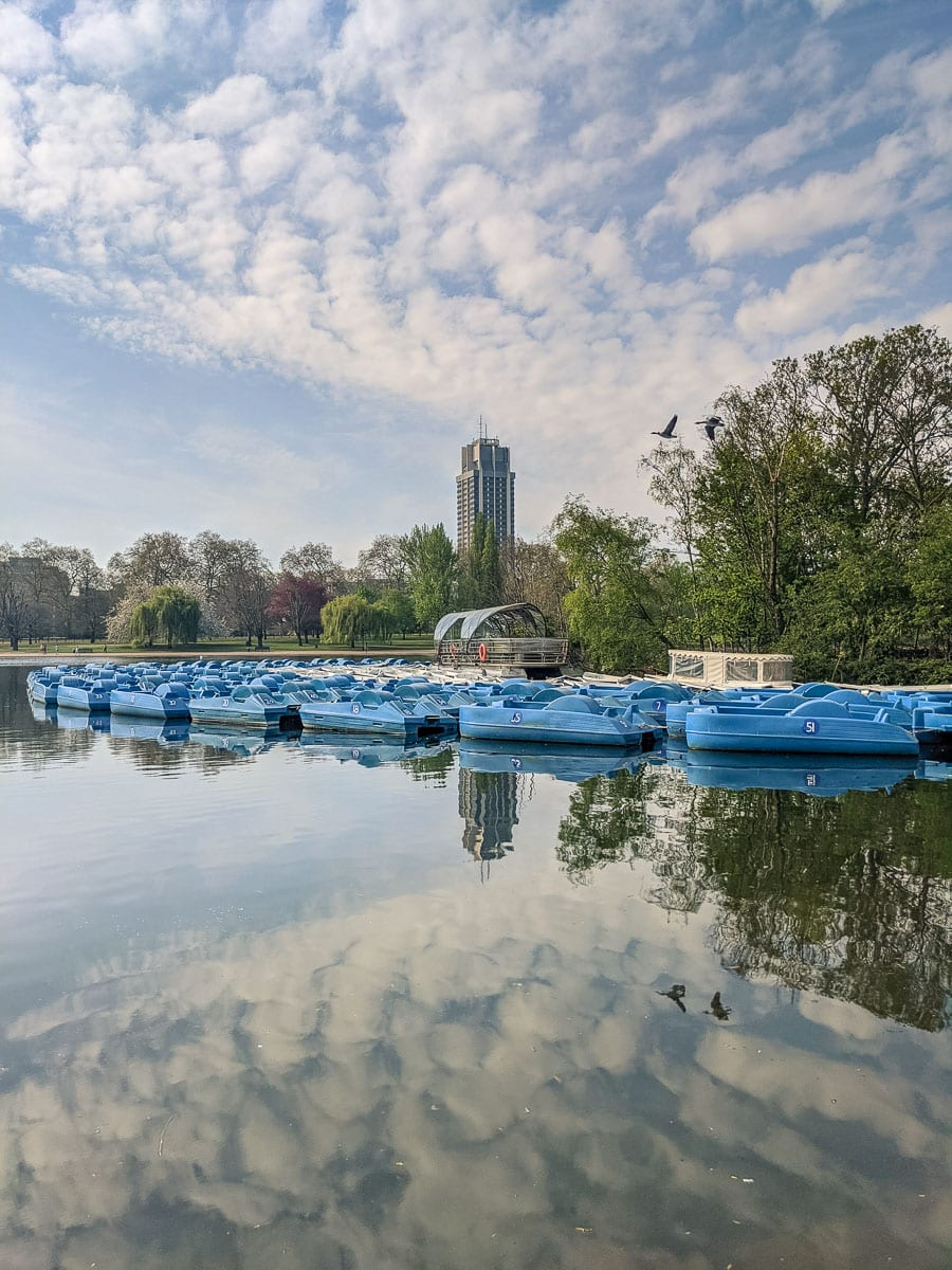 Pedalos and rowing boats in Hyde Park, London