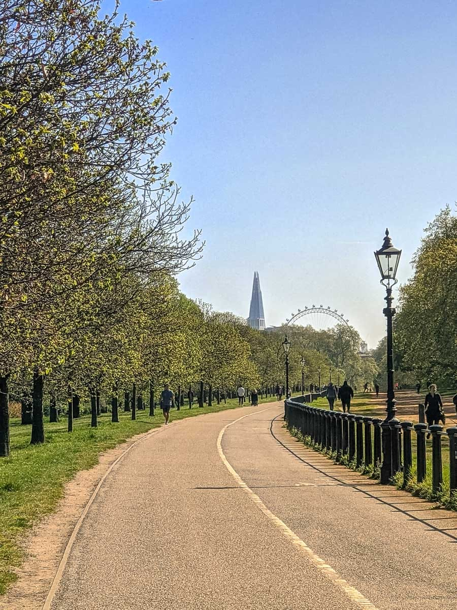 View of the London Eye and The Shard in Hyde Park, London