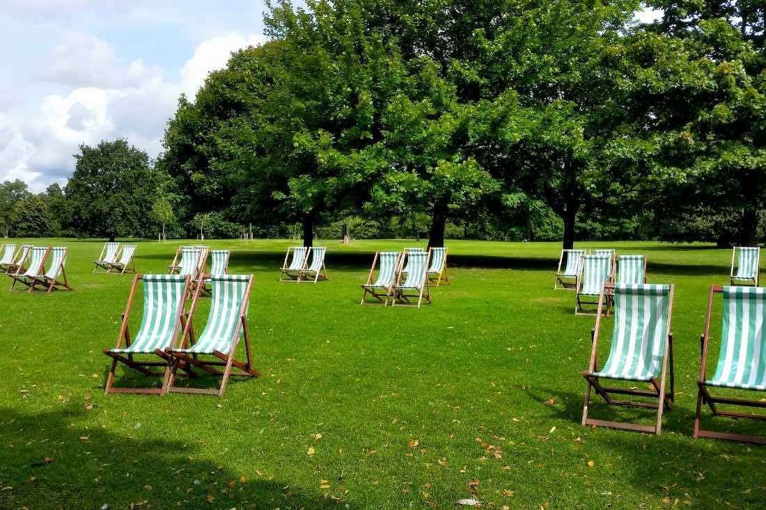 Deck chairs in Hyde Park, London