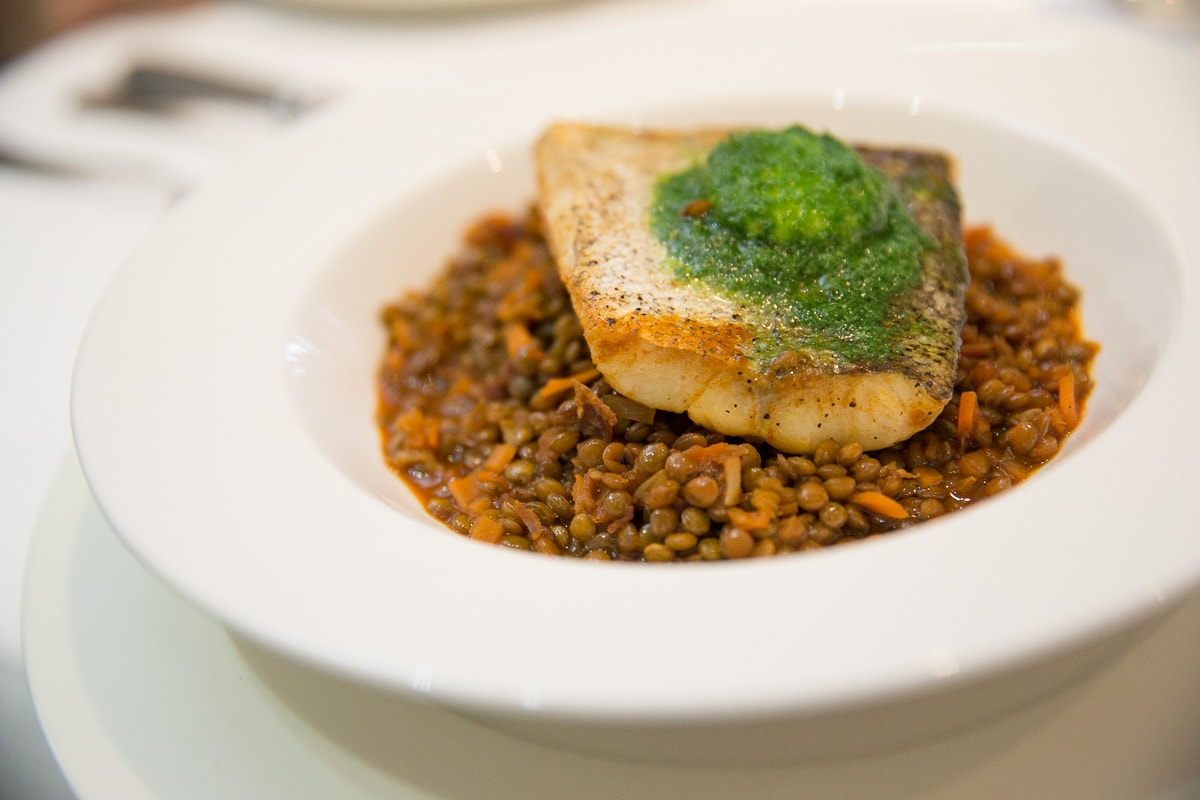 Fish on lentils at The Seafood Restaurant, Padstow