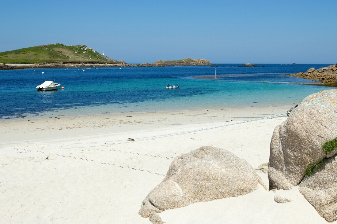 White sandy beach in the Scilly Isles