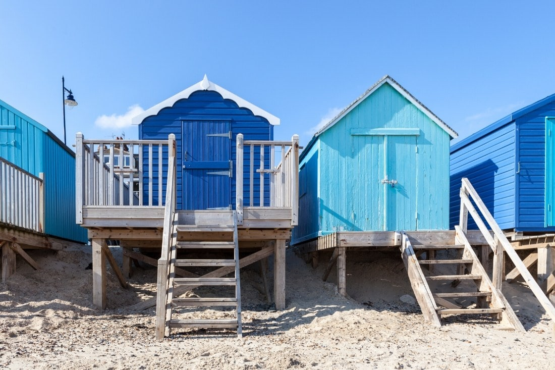 Felixstowe beach huts make this one of our favourite seaside day trips from London