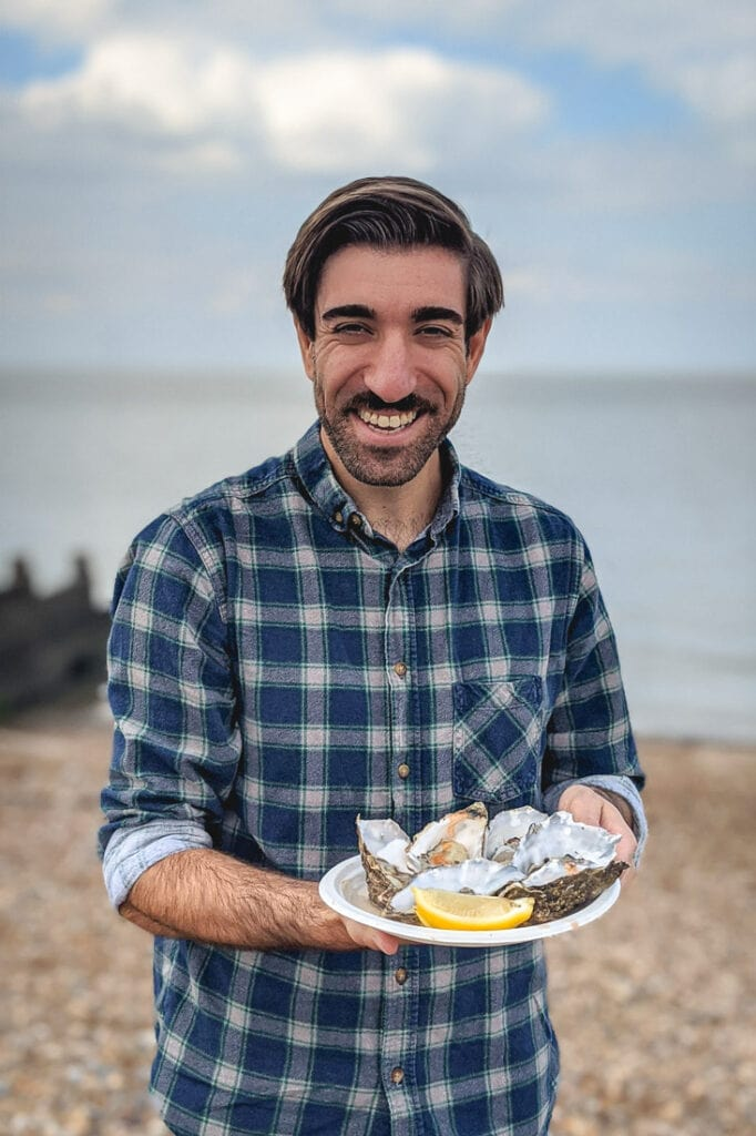 Oysters on the beach in Whitstable, Kent
