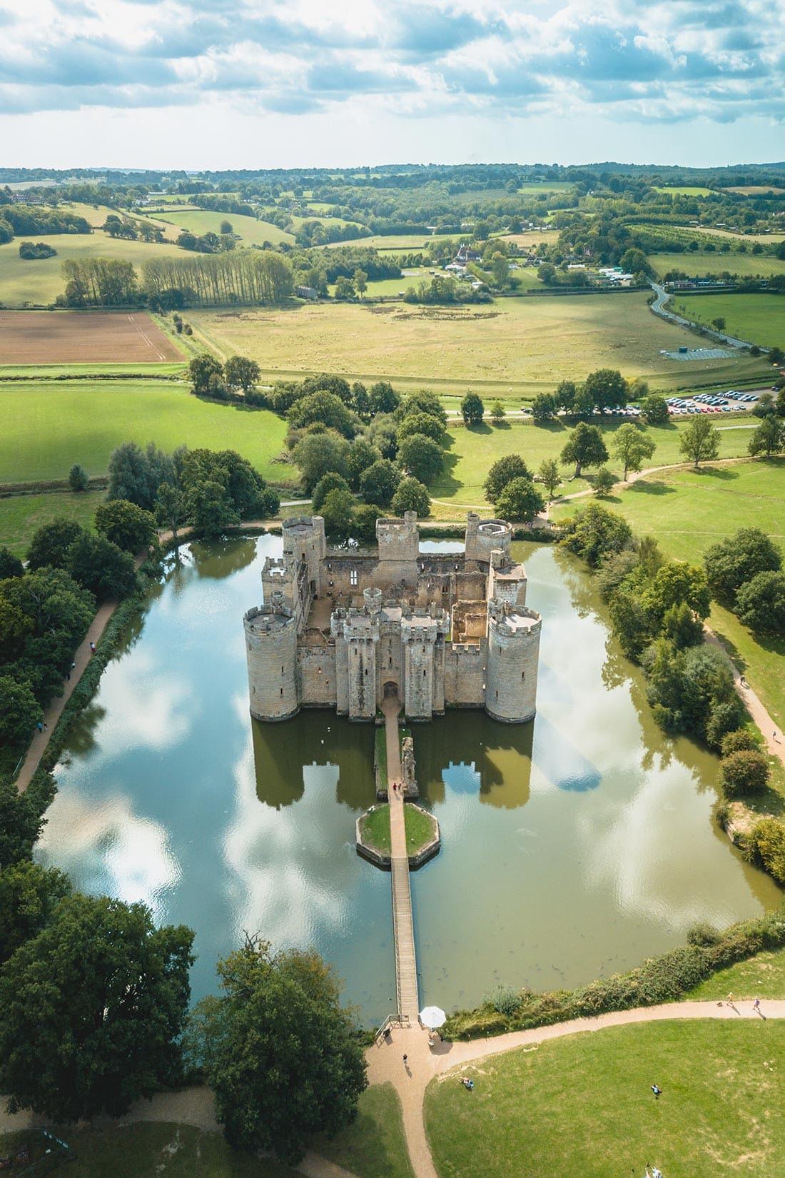 bodiam castle aerial view