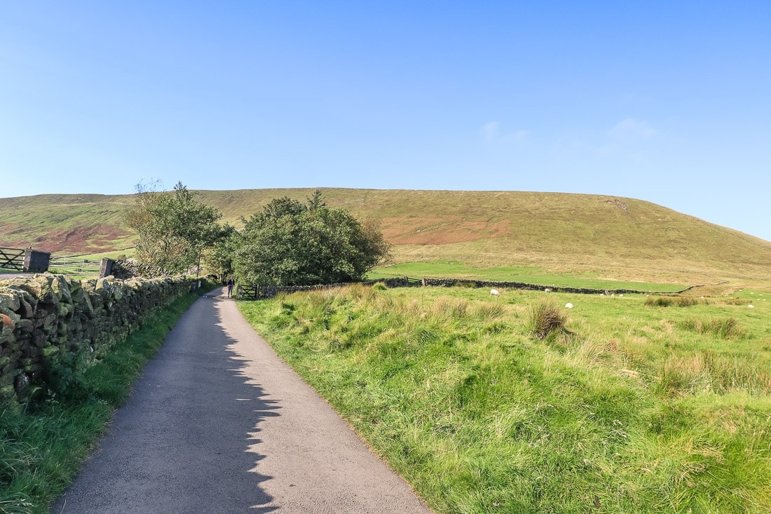 Walking up the path from Barley Lane towards Pendle Hill