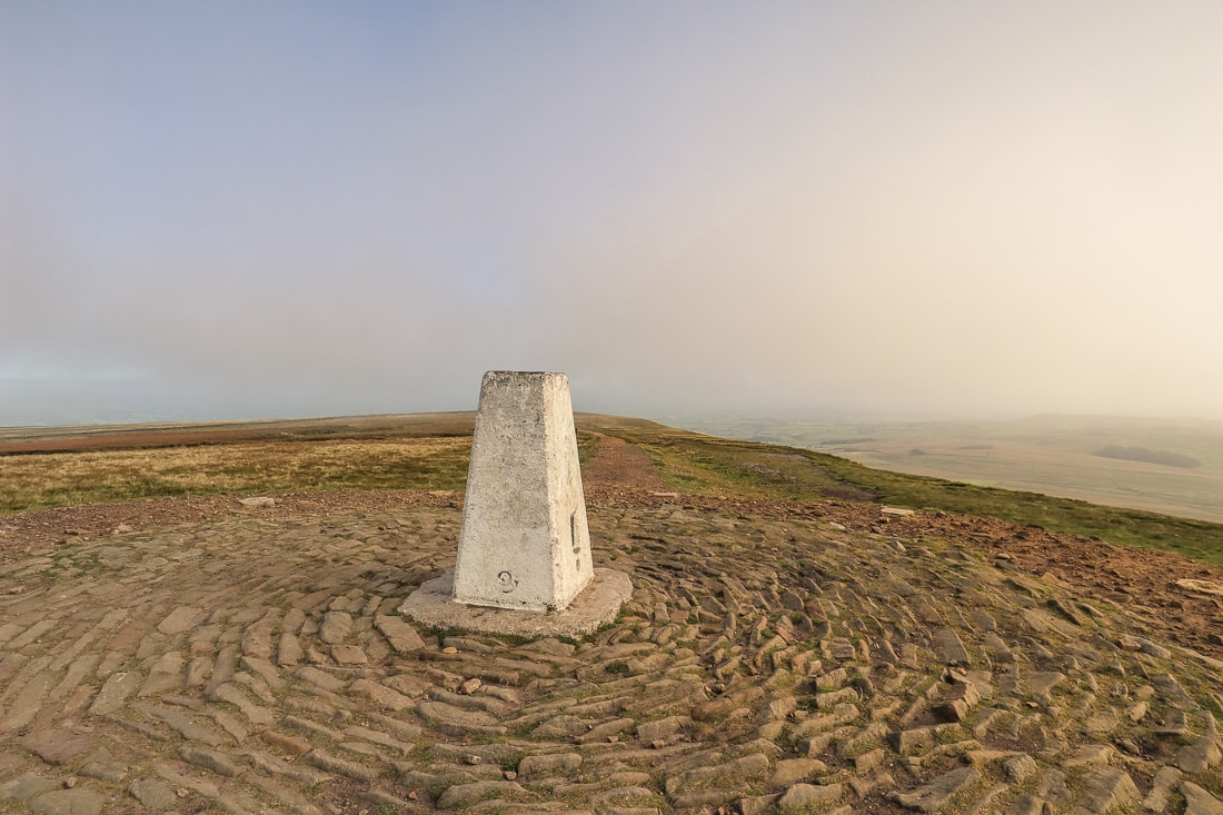 The triangluation point on the top of Pendle Hill