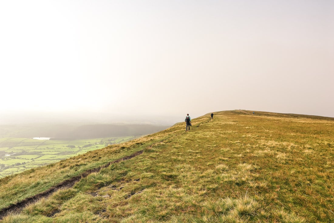 Walking along the top of Pendle Hill