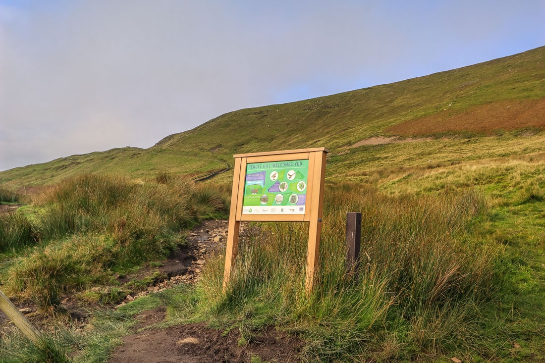 Sign at the base of the Pendle Hill walking route