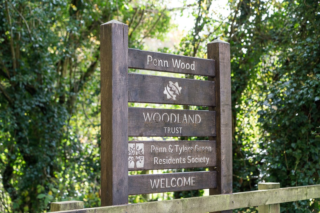 Sign at the entrance to Penn Wood