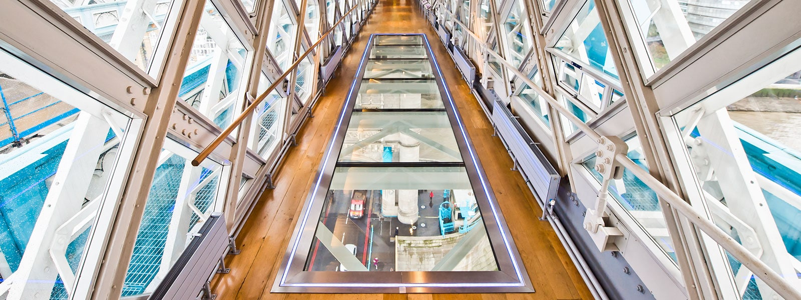 Glass walkway on Tower Bridge