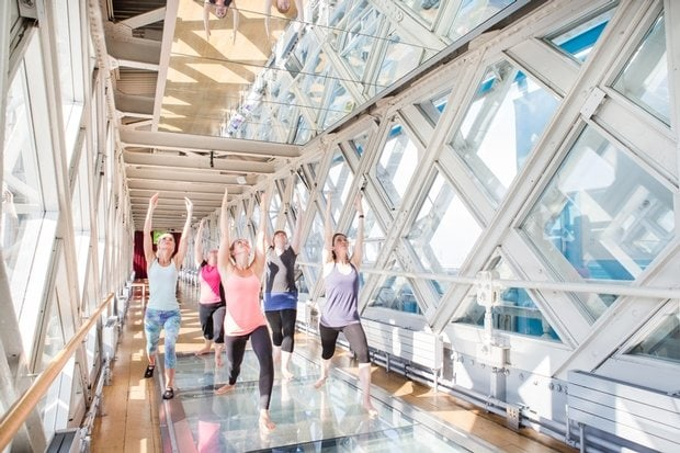 Yoga in the Tower Bridge walkways