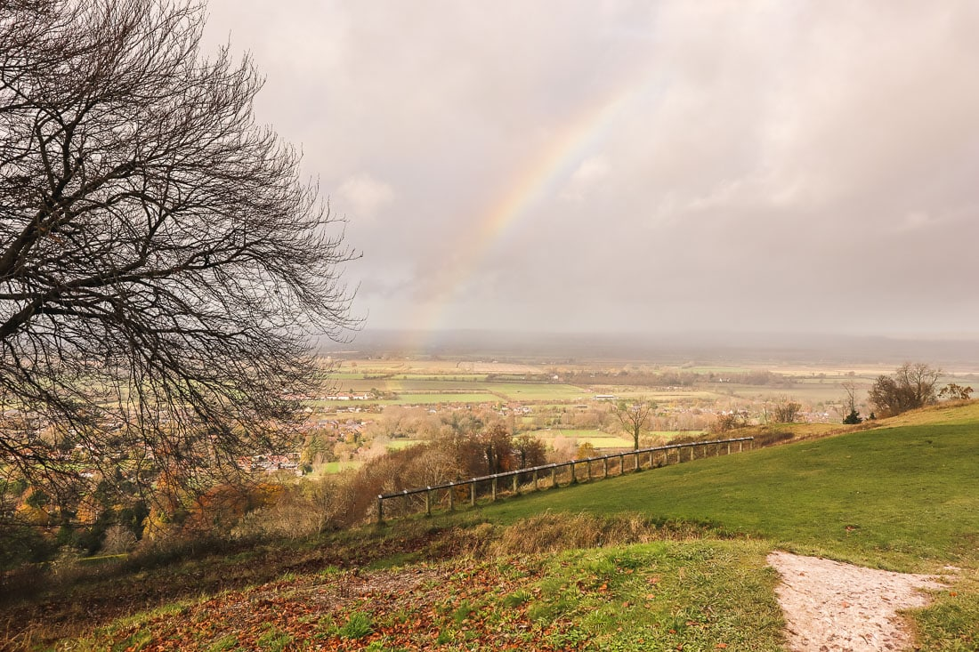 Rainbow over Whiteleaf Hill, Buckinghamshire