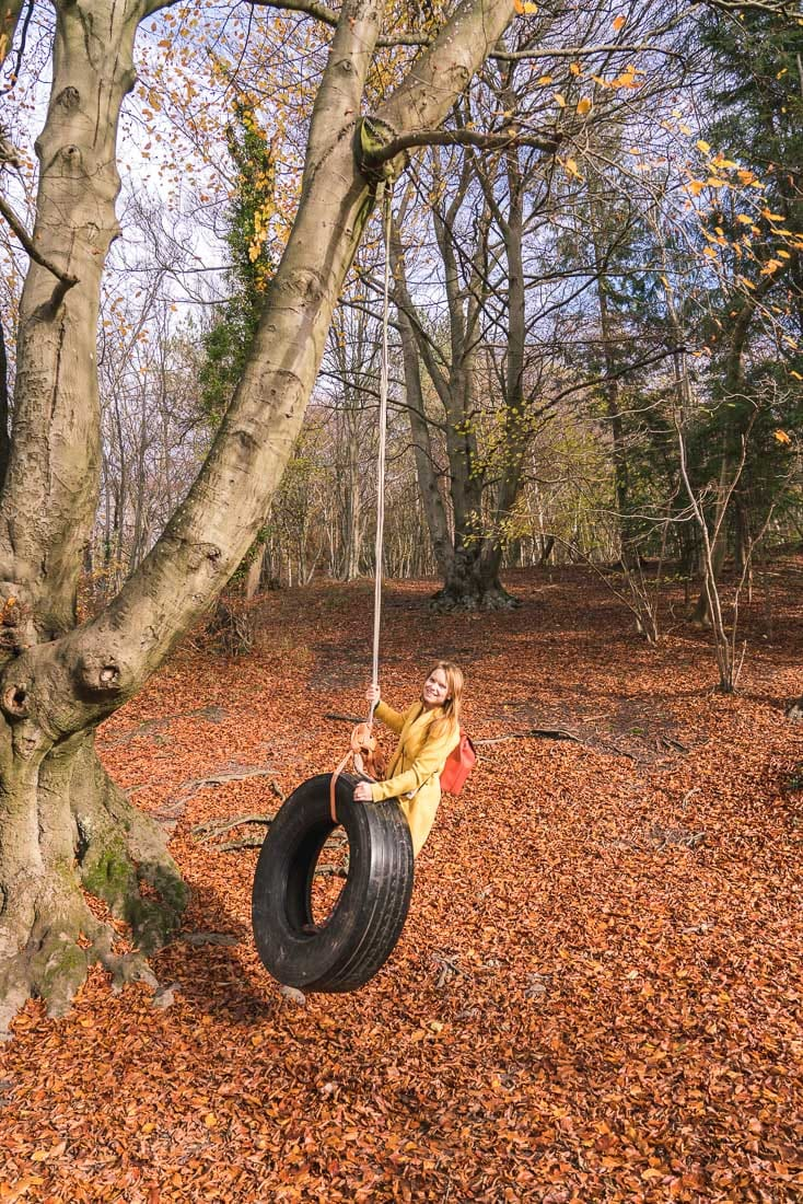 Playing on the rope swing at The Plough at Cadsden