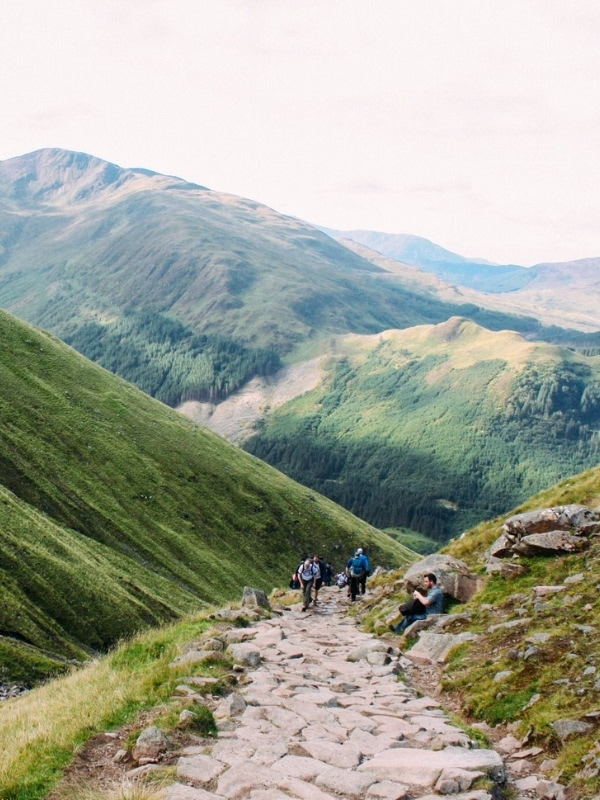 Hikers climbing Ben Nevis
