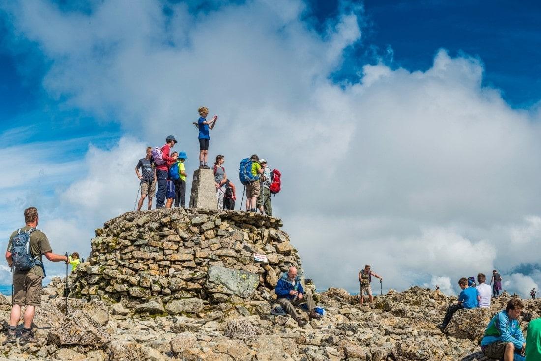 Walkers on the summit of Ben Nevis