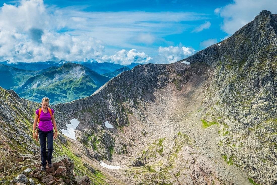 Hiker on the top of Ben Nevis