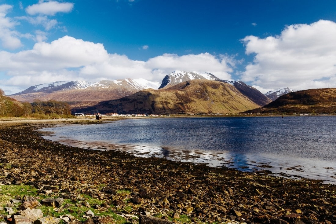 Views over the water to Ben Nevis