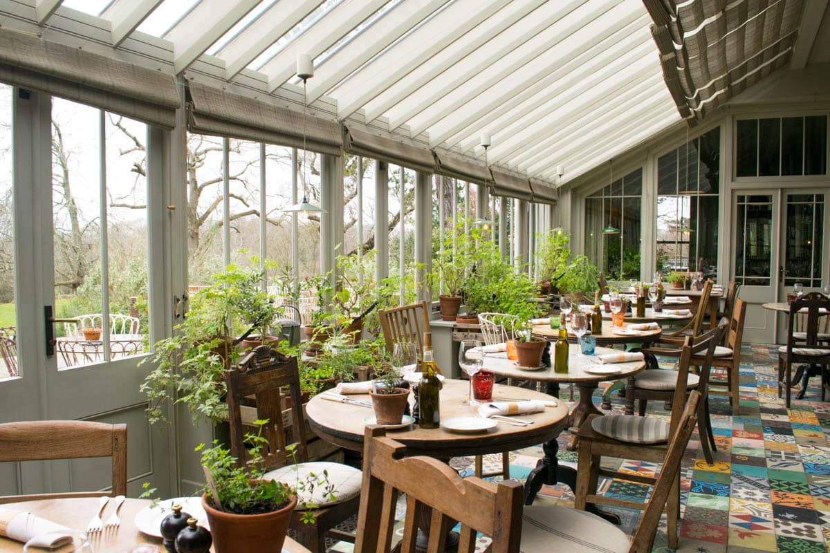 The restaurant at The Pig in the New Forest