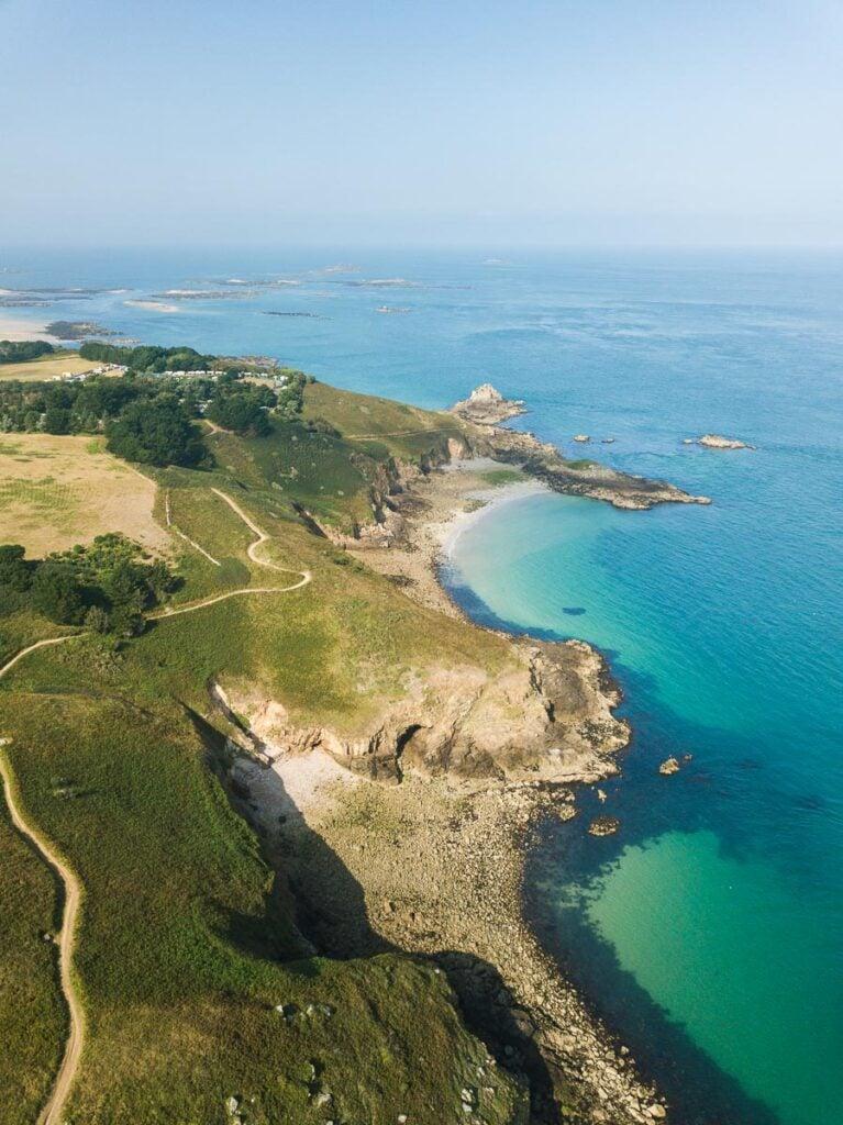 Aerial views of Herm's east coast