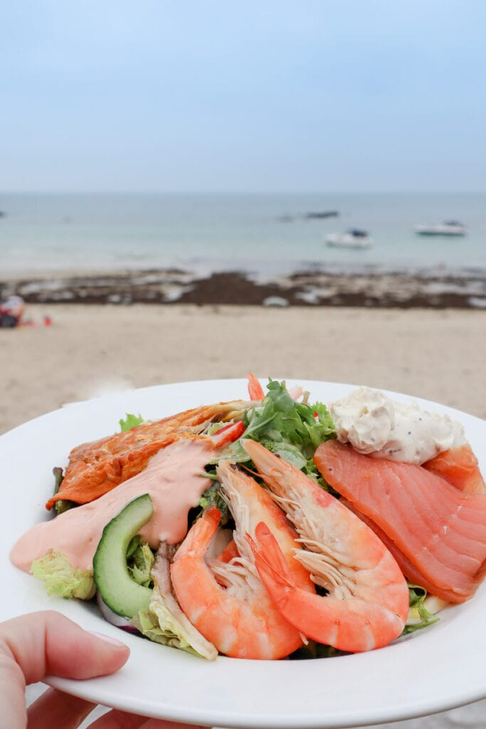 Seafood lunch at Shell Beach Cafe, Herm