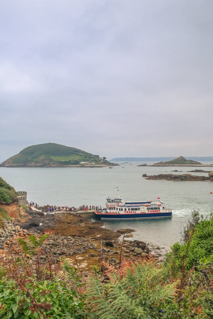 Travel Trident ferry at the Rosaire Steps in Herm